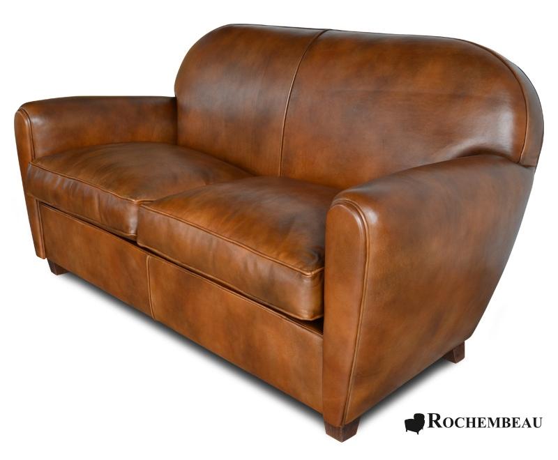New York Club Sofa. Rochembeau sheepskin leather club sofa