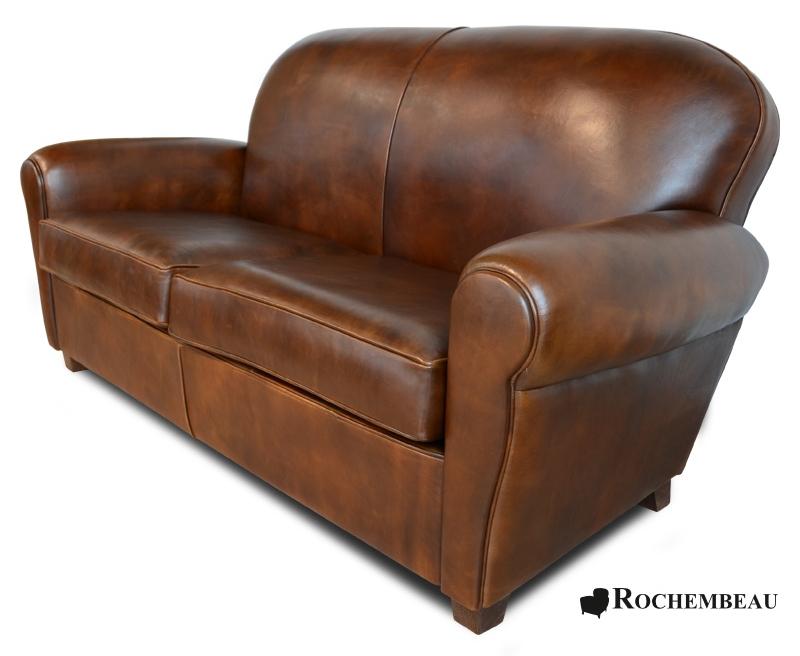 Top grain sheepskin leather clapton sofa for Canape leather sofa