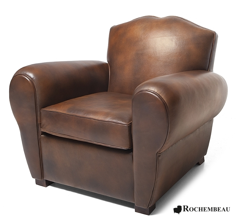 Rode Oor Fauteuil.Halifax Moustache Club Chair Rochembeau Sheepskin Leather