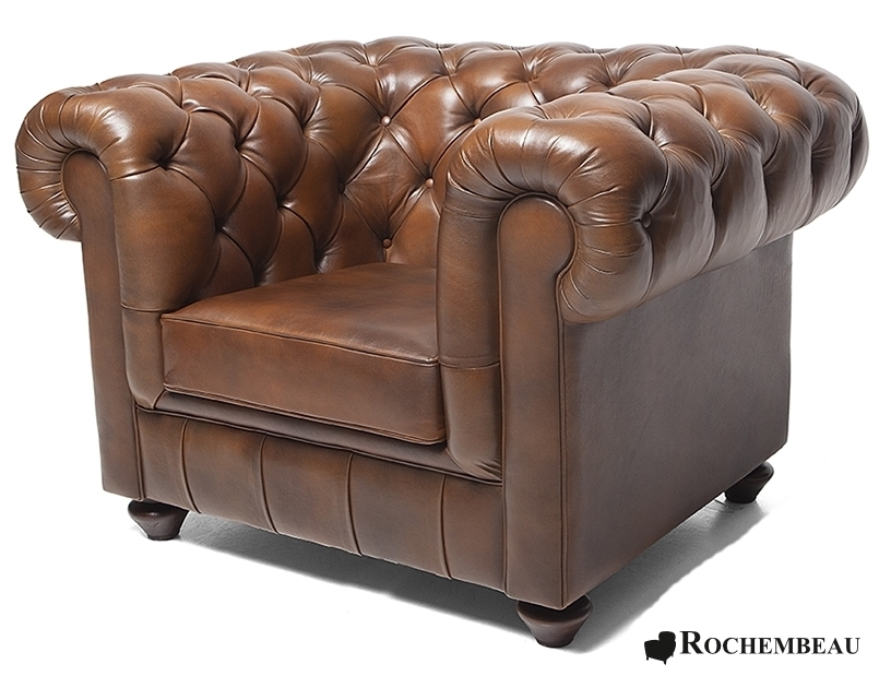 Chesterfield Club Chair. Rochembeau sheepskin leather Chesterfield