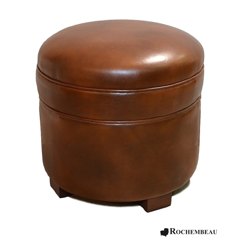 Round Leather Footstool Top Grain Leather Footstools
