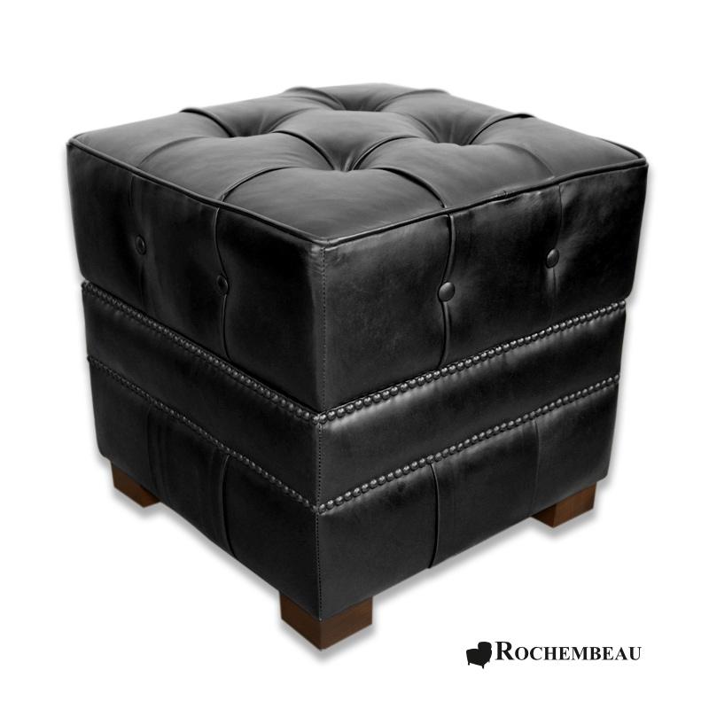 Square 48 x 48 cm footstool rochembeau footstools for Pouf carre noir ikea