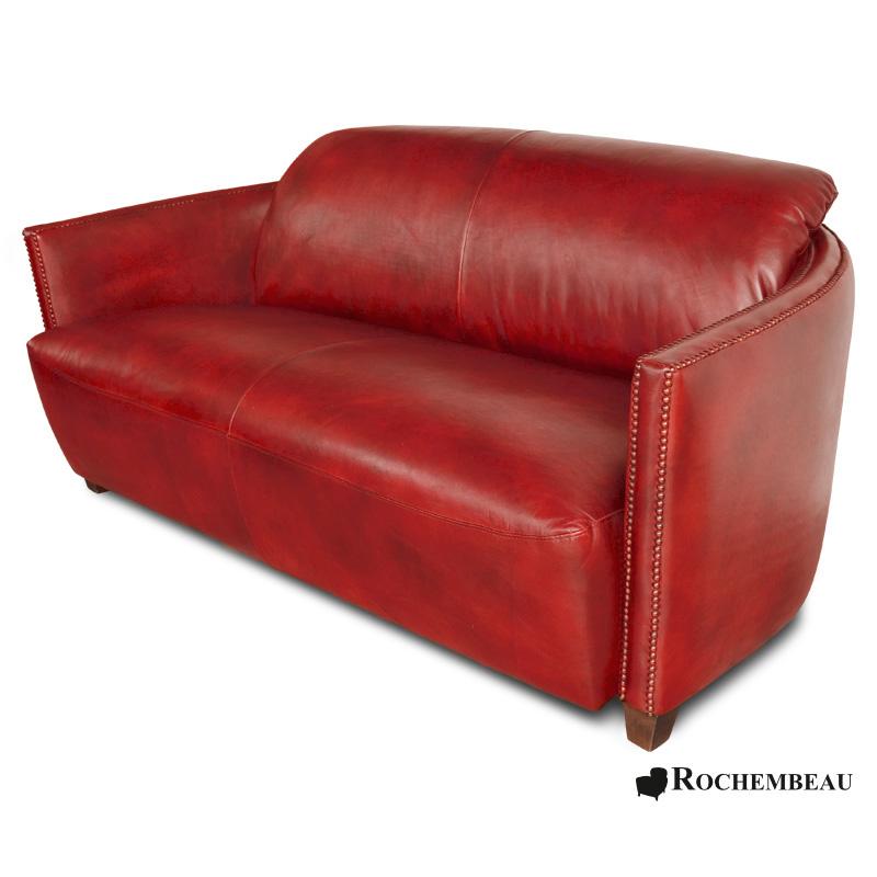 Leather Bateau Club Sofa. Sheepskin leather Cigare Sofa