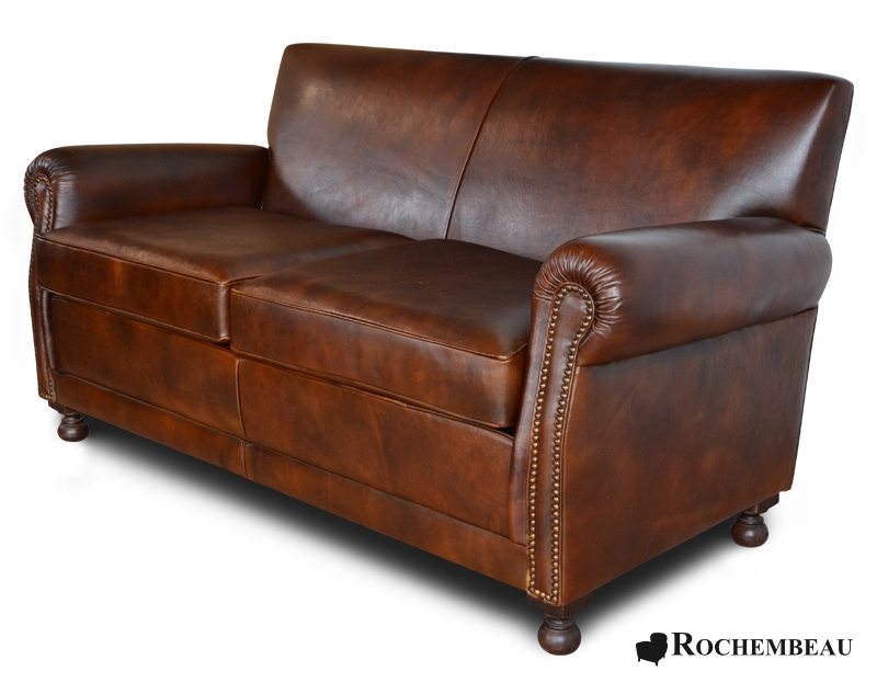 Leather liverpool club bench sofa 2 seater sofa for Canape leather sofa
