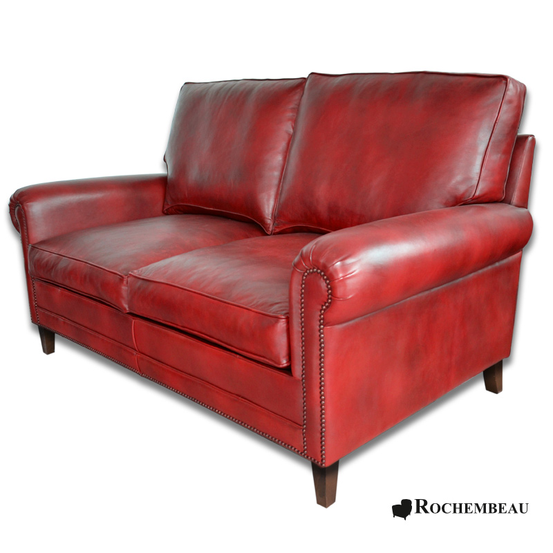 Leather DARWIN Club Sofa. Sheepskin leather Cigare Sofa