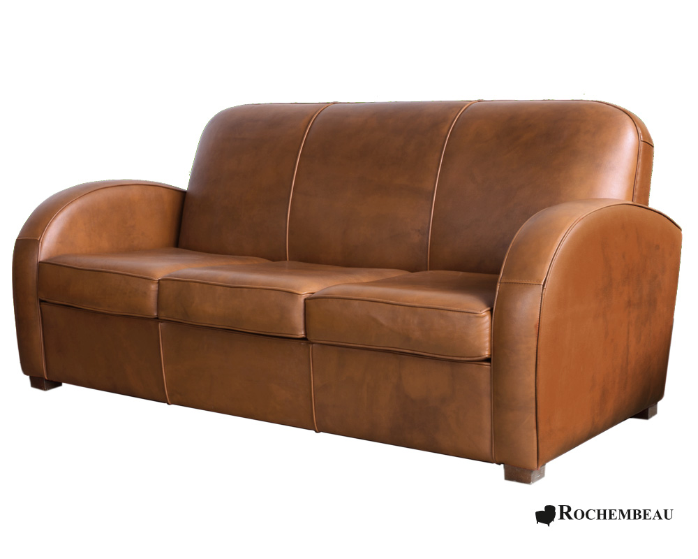 Newcastle club sofa club sofa in top grain leather sheepskin - Canape vintage marron ...