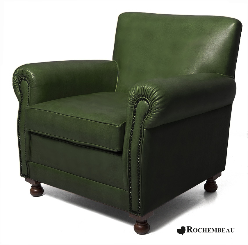Liverpool club armchair rochembeau sheepskin leather club - Fauteuil crapaud vert ...
