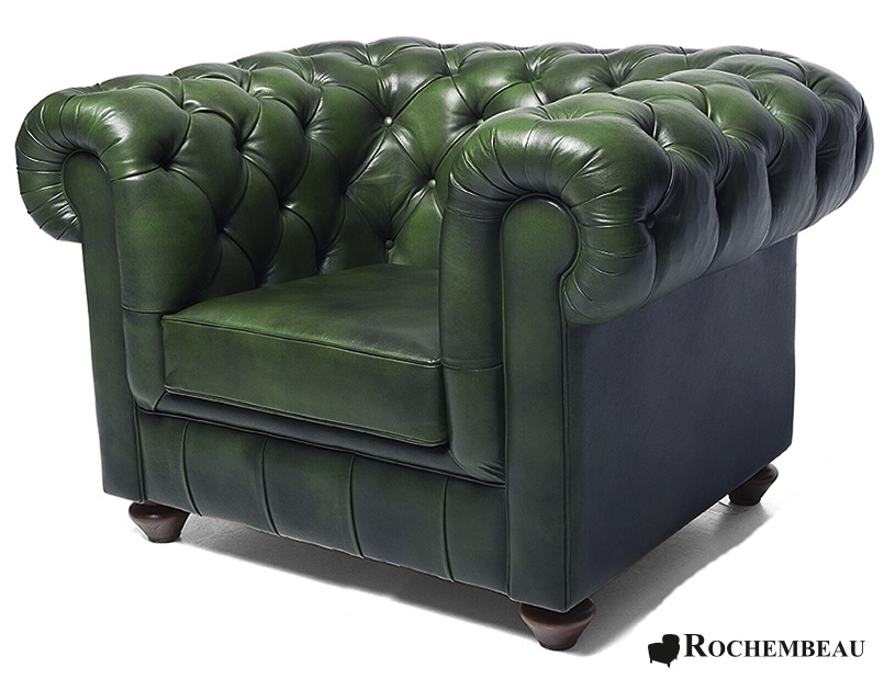 Chesterfield club chair rochembeau sheepskin leather - Fauteuil crapaud vert ...