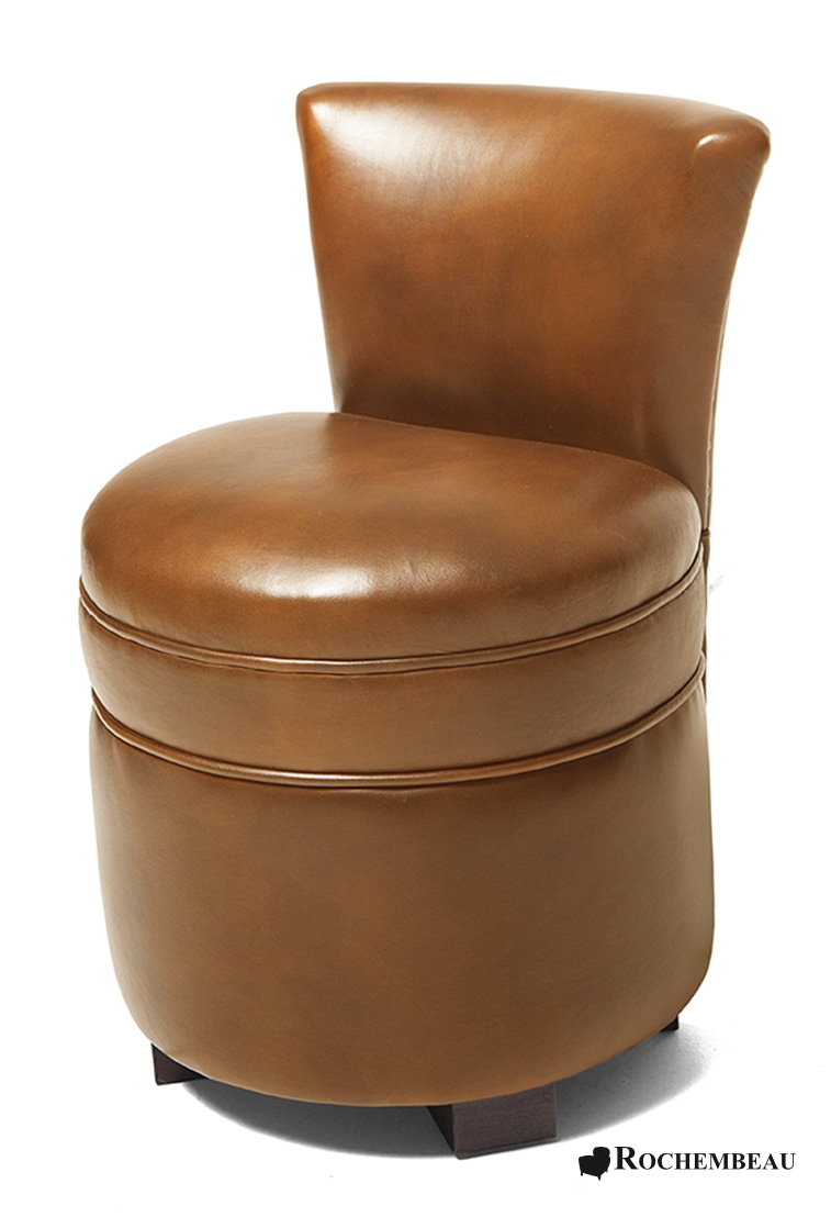 Leather footstool with seat back rochembeau footstools - Pouf marron conforama ...