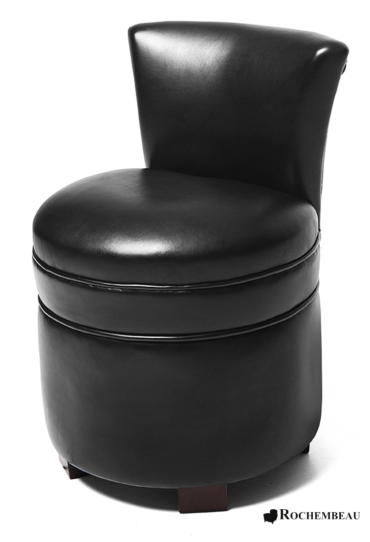 Leather Footstool with Seat Back  Rochembeau Footstools