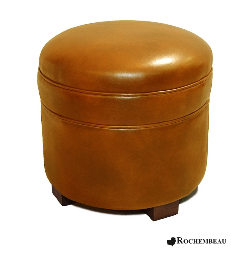 Round leather footstool top grain leather footstools - Pouf marron conforama ...