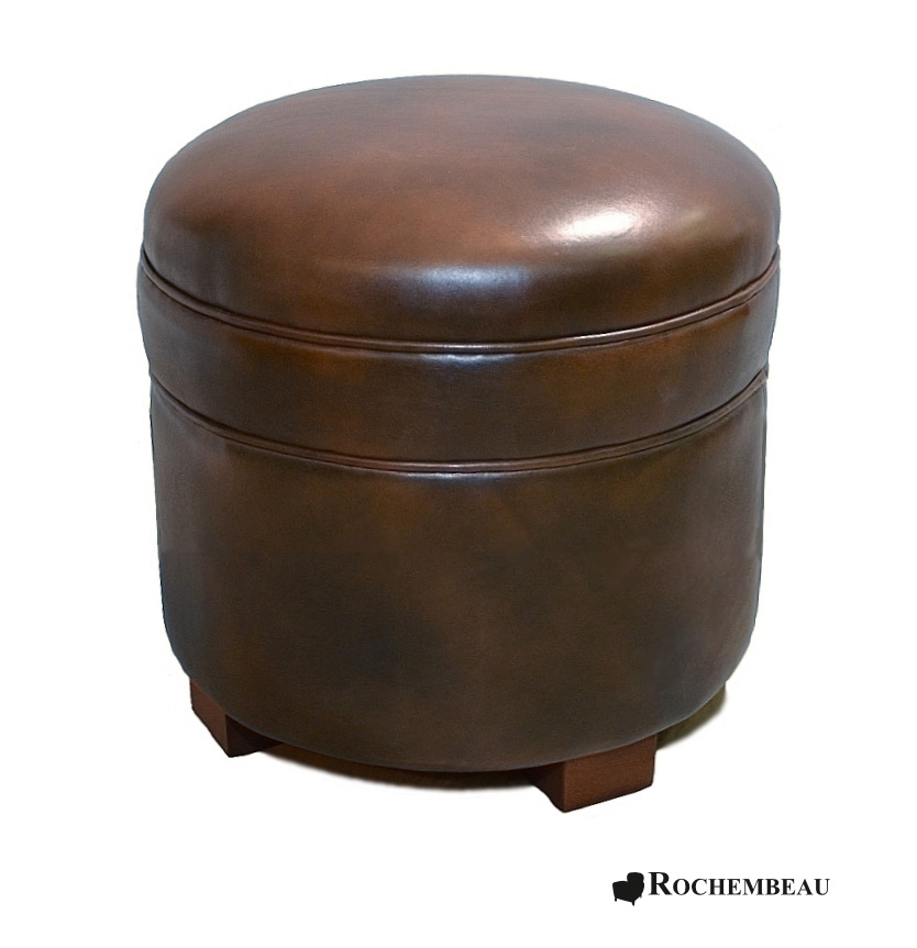 Round leather footstool top grain leather footstools - Pouf cuir marron chocolat ...