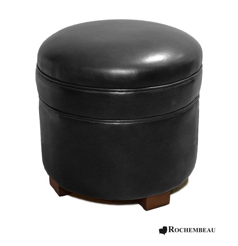 Round leather footstool top grain leather footstools - Pouf simili cuir noir ...