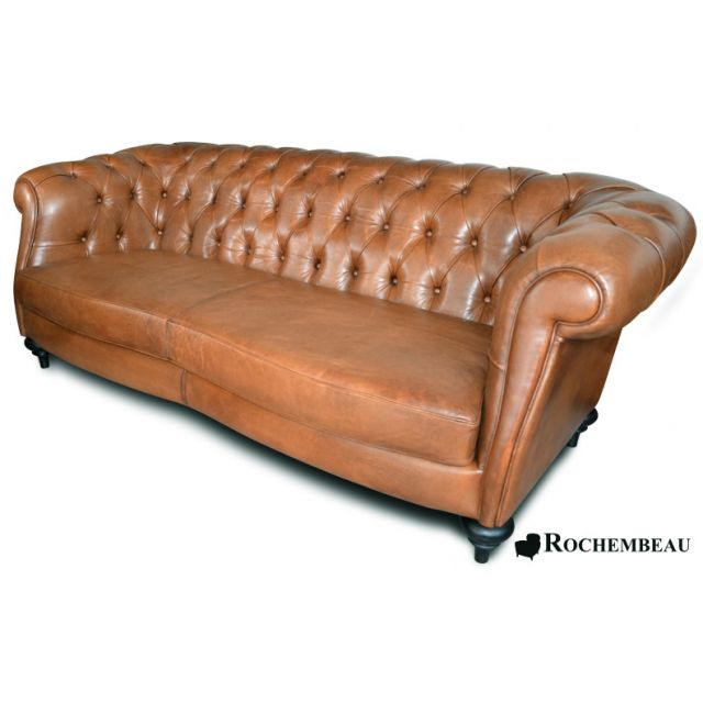 Real Chesterfield Sofas In Full-Grain Leather - Rochembeau
