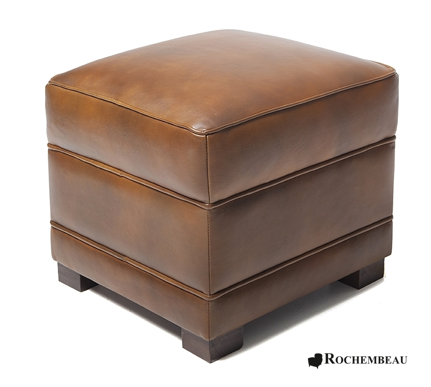 Leather Square Footstool