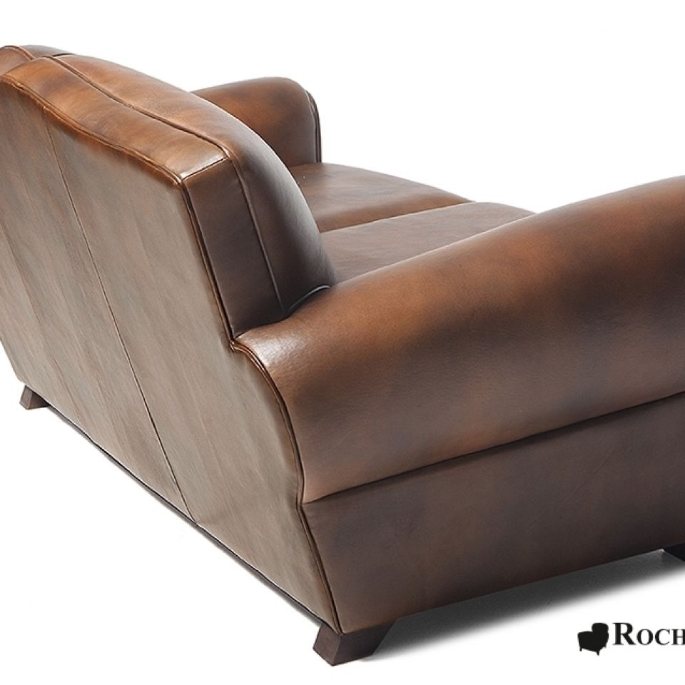 Moustache club sofa top grain leather sofa for Canape leather sofa