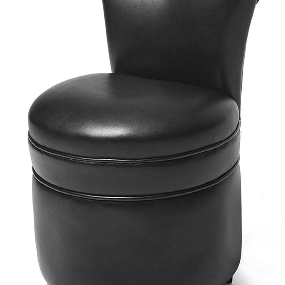 Round Footstool with seat back.